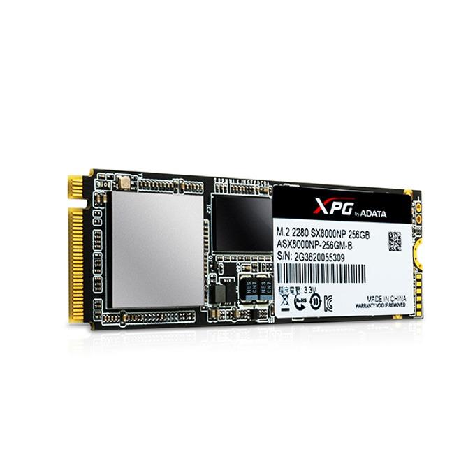 Памет SSD 256GB A-Data XPG SX8000, PCIe Gen3x4, M.2 (2280), скорост на четене 2500MB/s, скорост на запис 1100MB/s image