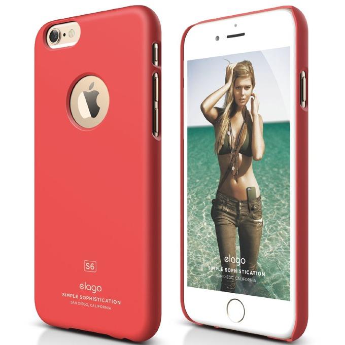 Поликарбонатов протектор Elago S6 Slim Fit за iPhone 6, светлочервен, HD покритие  image