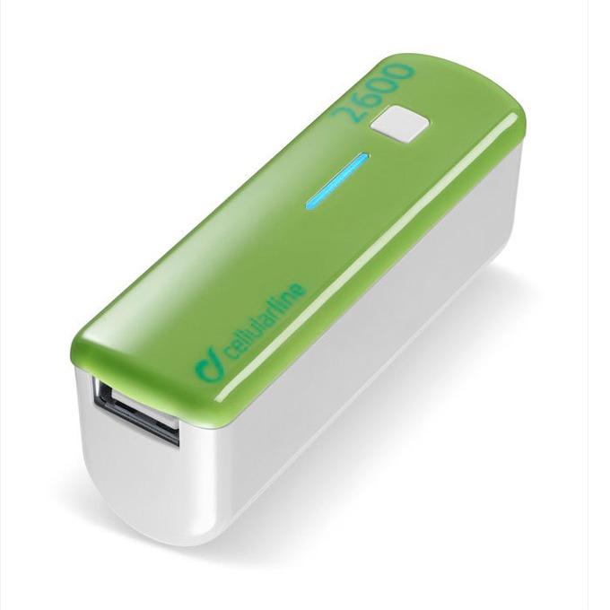 Външна батерия/power bank/ Cellular Line, 2600mA, зелена, 1x USB image