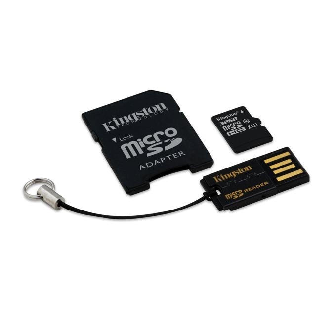 32GB microSDHC, с SD адаптер, с USB четец за карти, Kingston, Class 10 UHS-I, скорост на четене 10MB/s, скорост на запис 10MB/s image