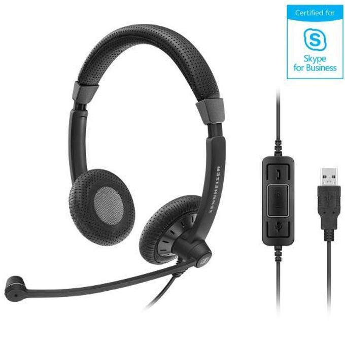 Слушалки Sennheiser SC 67 USB MS 506502, микрофон, USB, черни image