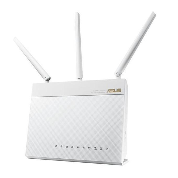Рутер Asus RT-AC68U (бял), 1900Mbps, 2.4GHz (600 Mbps)/5GHz (1300 Mbps), Wireless AC, 4x LAN 1000, 1x WAN 1000, 1x USB 3.0. 1x USB 2.0, 3x външни антени, 256MB RAM, 128MB Flash памет image