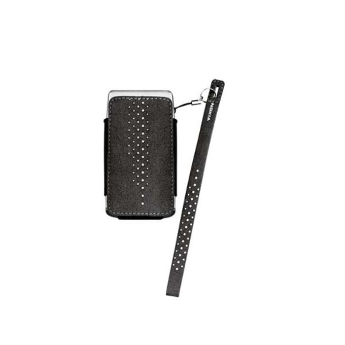 """Калъф тип """"джоб"""" за Nokia, черен, велурен, връзка за ръка image"""