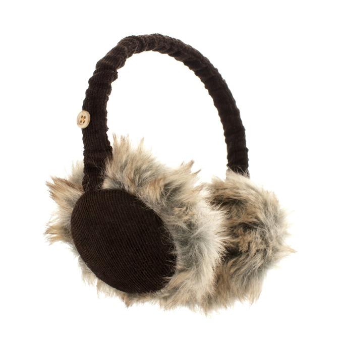 Слушалки KitSound Cord Fur Earmuffs, кафяви, с ушанки image