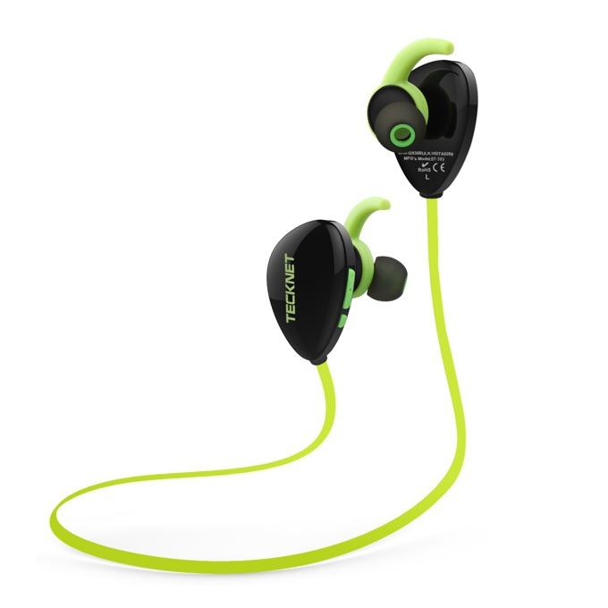 "Слушалки TeckNet G938, Bluetooth, микрофон, тип ""тапи"", зелен image"