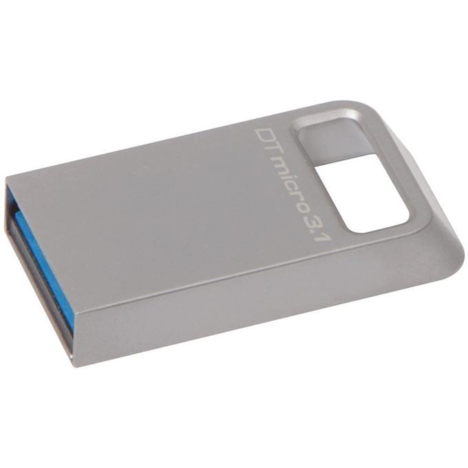 Памет 64GB USB Flash Drive, Kingston DataTraveler Micro 3.1, USB 3.1 Gen-1, сребриста image
