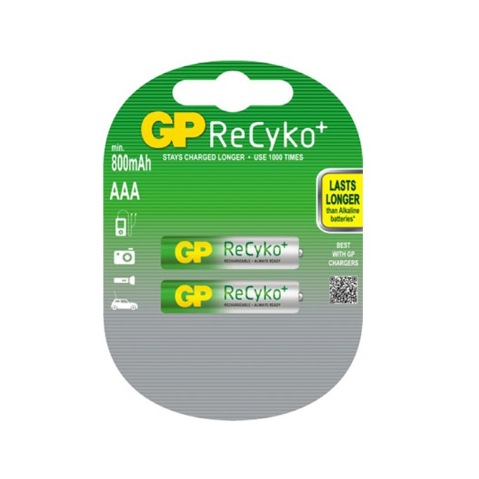 Акумулаторна Батерия GP NiMH R03/AAA, 1.2V, 800mAh, RECYKO, 2 бр. в опаковка  image