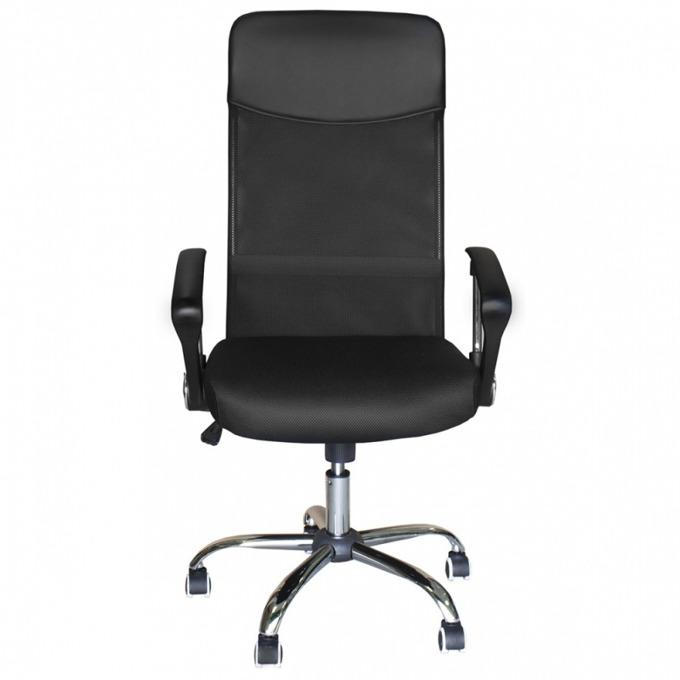 Офис стол NORD-9003 steel, лумбална подвижна опора, газов амортисьор, полипропиленови подлакътници, люлеещ механизъм, черен image
