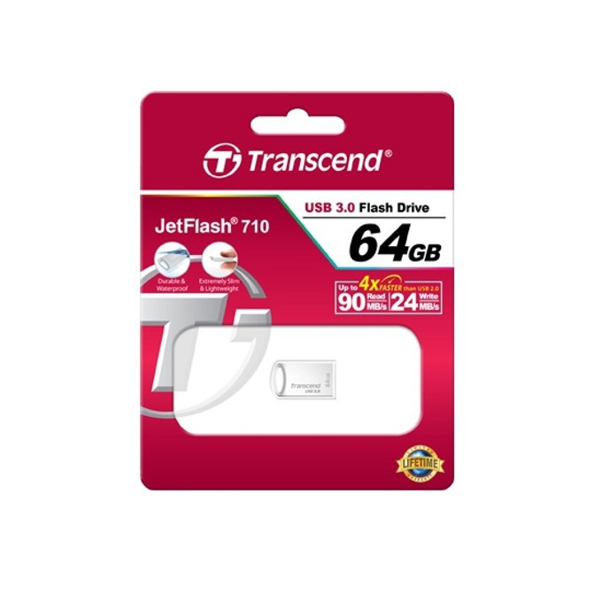64GB USB Flash Drive, Transcend JetFlash 710, USB 3.0, сребриста image