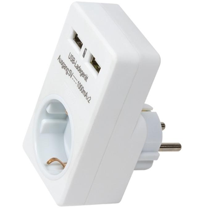 Зарядно устройство LogiLink PA0112 от контакт към контакт + 2х USB А (ж), 5V, 1000 mA, бяло image