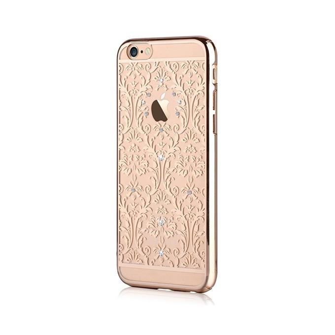 Калъф за Apple iPhone 6/6S+, страничен протектор с гръб, поликарбонат, Devia Baroque Case, с кристали Сваровски, златист image
