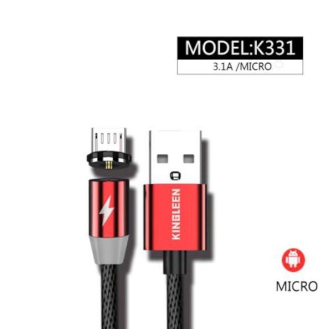 Кабел магнитен Kingleen (K331), от USB Type-C(м) към USB A(м), 1м, 3.1A, червен image