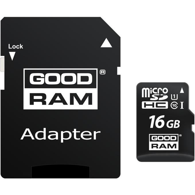 16GB microSDHC, с SD адаптер, Goodram, Class 10 UHS-1, cкорост на четене 60MB/s, скорост на запис 10MB/s image