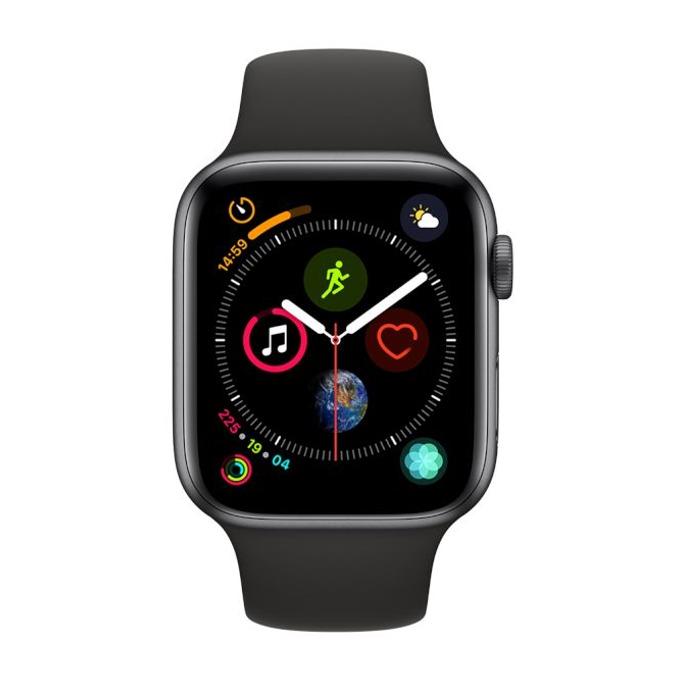 Смарт часовник Apple Watch S4 44mm, OLED дисплей, водоустойчив, силиконова каишка, черен image