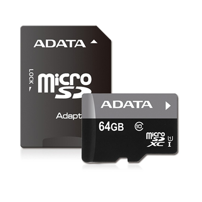 Карта памет 64GB microSDXC с адаптер, A-Data Premier, Class 10, UHS-I, скорост на четене 50MB/s, скорост на запис 10MB/s image