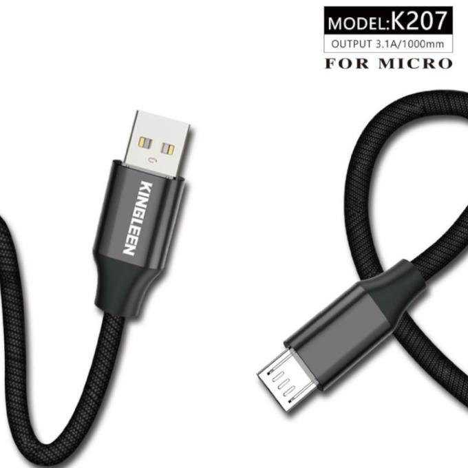 Кабел Kingleen (K207), от USB Type-A(м) към Micro USB(м), 1м, 3.1A, черен image