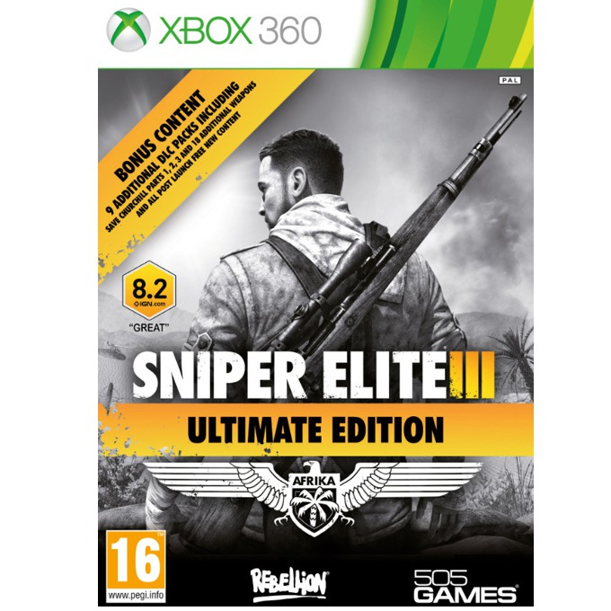 Sniper Elite III Ultimate Edition, DLC: Save Churchil, Hunter Weapons Pack, Camouflage Weapons Pack, Patriot Weapons Pack, Sniper Rifles Weapons Pack и други, за XBOX360 image