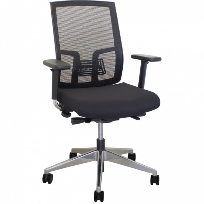 Офис стол OKOffice Sydney ALU, алуминиева база, дамаска, черен image