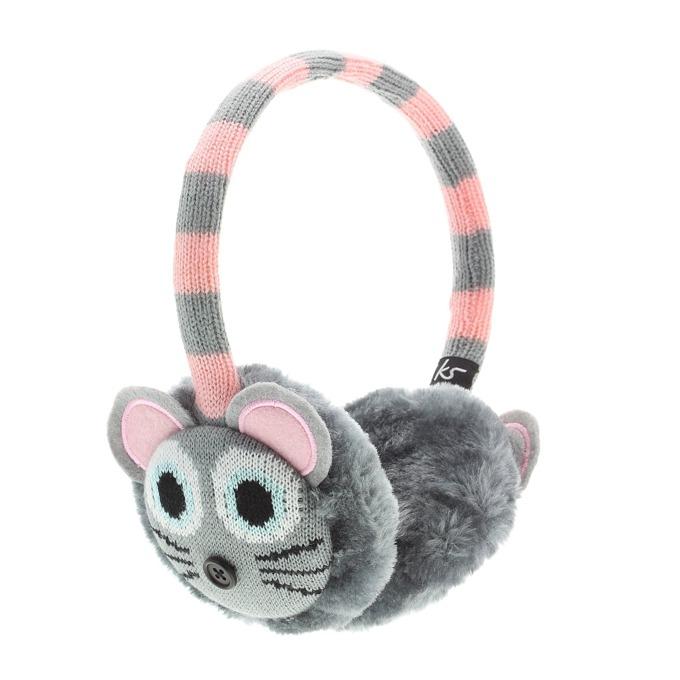 Слушалки KitSound Mouse Knit InLine Earmuffs, розово-сиви, с ушанки, микрофон image
