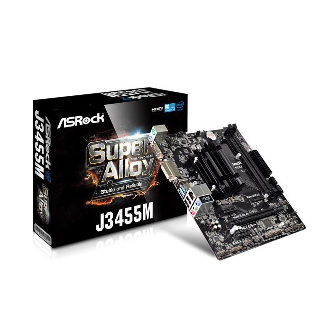 Дънна платка ASRock J3455M, вграден четириядрен Intel Celeron J3455 1.50/2.30GHz, PCI-E (HDMI&DVI&VGA), 2x SATA 6Gb/s, 2x USB 3.1 Gen1, microATX image