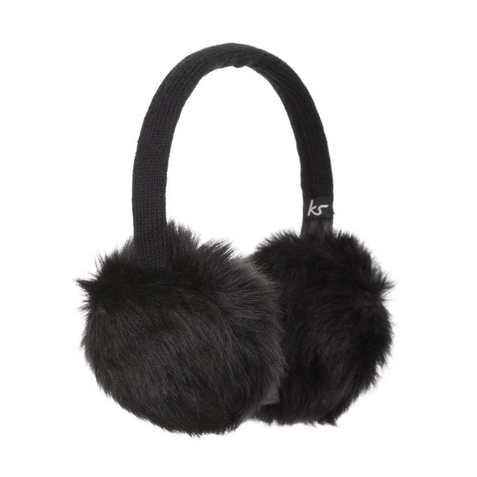 Слушалки KitSound Fur Earmuffs, черни, с ушанки image