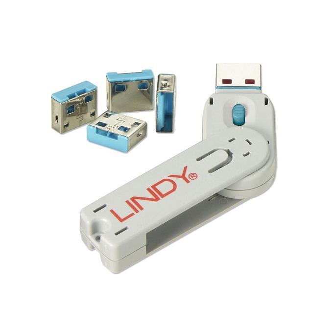 Система за заключване LINDY 40452, за USB Type A портове, 1x ключ, 4x блокера, сини image