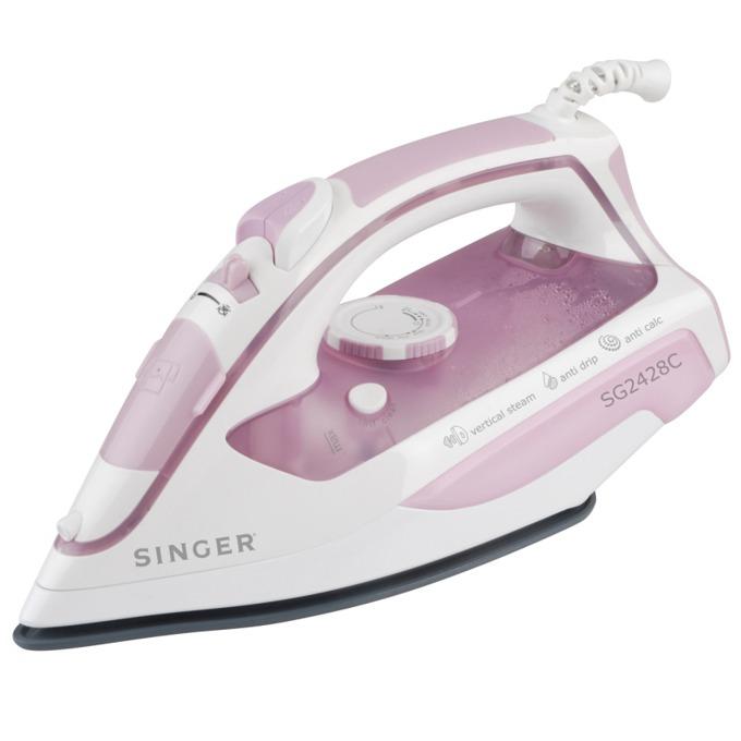 Парна ютия Singer SG2428C, 2400W, 85 гр/мин пара, Въртящ се на 360º кабел, Антикапкова система, Плоча с керамично покритие, бяла/розова image