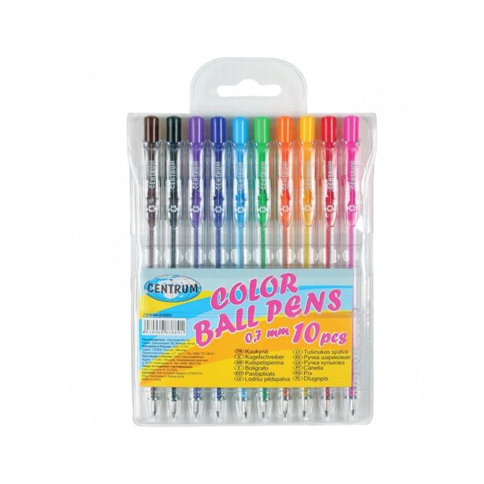 Химикалка Centrum Color Ball Pens, различни цветове на писане, 0.7 mm, прозрачна, цената е за 1бр. (продава се в опаковка от 10 бр.) image