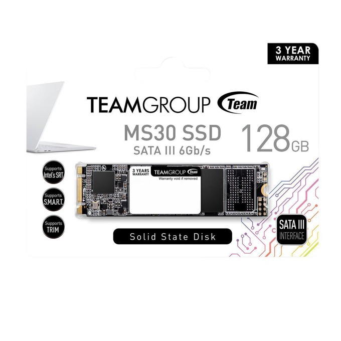 Памет SSD 128GB Team Group Elite MS30, M.2 2280, SATA 6Gb/s, M.2 (2280), скорост на четене 550MB/s, скорост на запис 460МB/s image