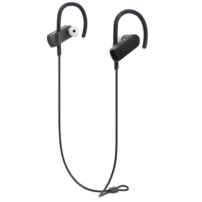 Слушалки Audio-Technica ATH-SPORT50BTBK, безжични(Bluetooth 4.1), микрофон, 6 часа време за работа, контрол на звука, IPX5 защита, черни image