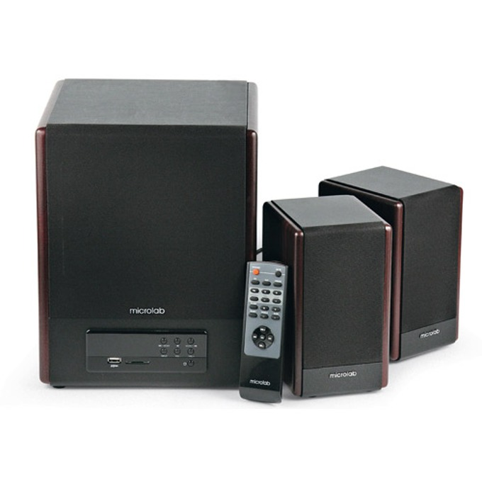 Тонколона Microlab FC530U, 2.1, RMS 64W (2x18W + 28W), 3.5mm jack/RCA/USB, кафяв, FM радио както и SD карта четец image