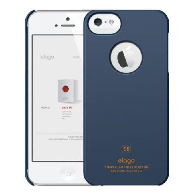 Поликарбонатов протектор Elago S5 Slim Fit Case + HD Clear Film за iPhone 5, iPhone 5S, тъмносин, HD покритие image