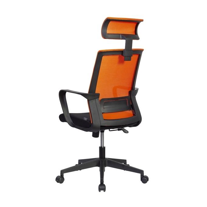 Директорски стол RFG Smart HB, дамаска и меш, черна седалка, оранжева облегалка image