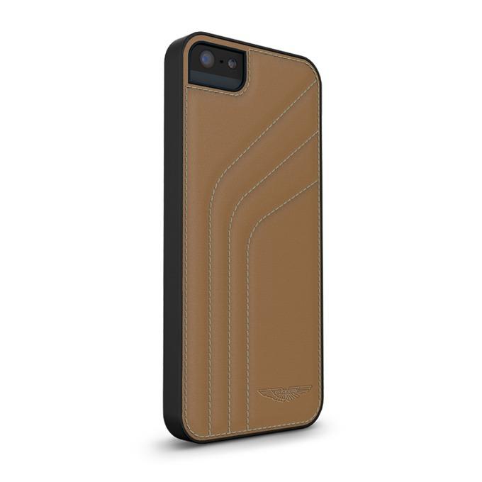 Калъф за Apple iPhone 5/5S, страничен протектор с гръб, естествена кожа, Aston Martin Snap ST/A, кафяв image