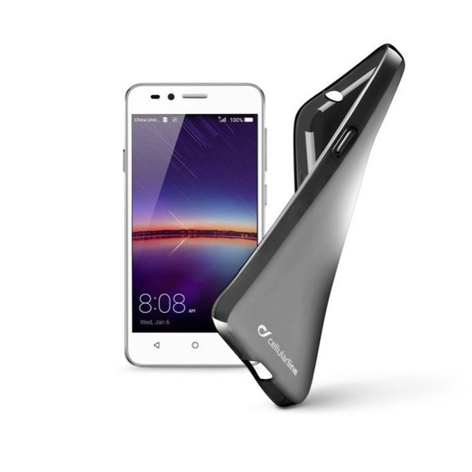 Калъф за Huawei Y3 II, страничен протектор с гръб, гумен, Cellular Line Shape, черен image