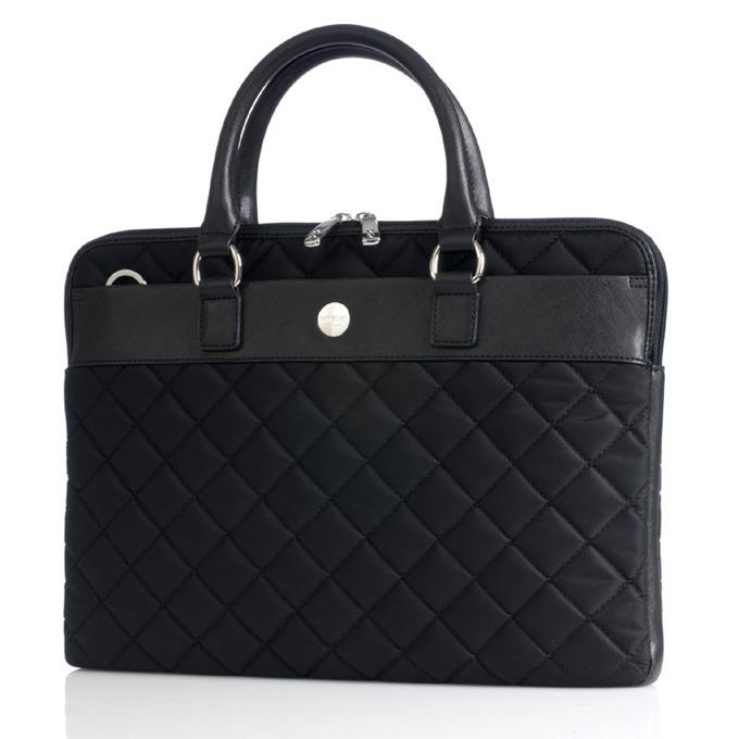"""Чанта за лаптоп Knomo Avignon 13 X-slim Brief, до 13"""" (33.02 cm), дамска, кожена, черна image"""