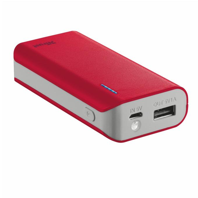 Външна батерия/power bank TRUST Primo 4400, 4400 mAh, червена image