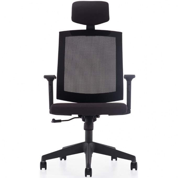 Работен стол mexicano HR K68A, Регулируeма поставка за глава, Пластмасова, петлъчева основа, черен image