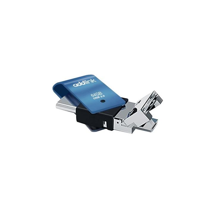 Памет 64GB USB Flash Drive Addlink T80 3-in-1, USB-C 3.1/OTG MicroUSB-B/USB-A 3.0, синя image