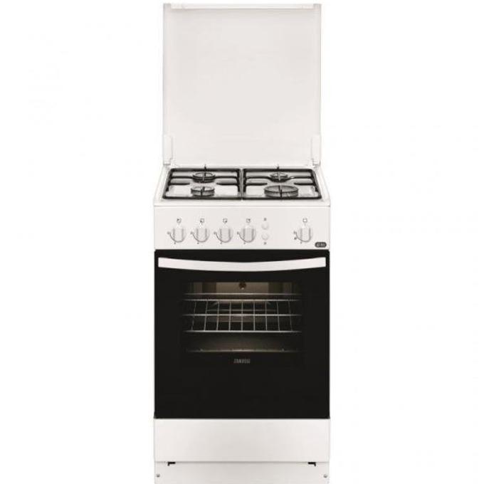 Готварска печка Zanussi ZCG 210 U1W, 4 Газови котлони, 61 л. обем на фурната, бяла image