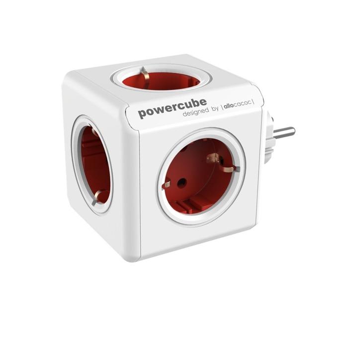 Разклонител Allocacoc Power Cube 1100RD, 5 гнезда, защита от деца, бял/червен image