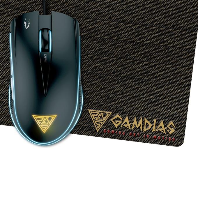 Мишка Gamdias ZEUS E2, в комплект с подложка за мишка NYX E1, оптична (3200dpi), 6 бутона, USB, черна, гейминг, подсветка image