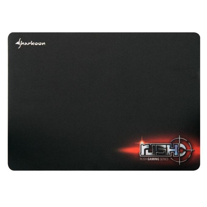 Подложка за мишка Sharkoon Rush Mat, гейминг, черна с лого, 350 x 225 x 1.4mm image