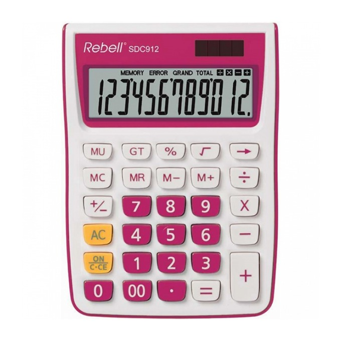 Калкулатор Rebell SDC912 stylish, 12 разряден дисплей, бяло/розов image