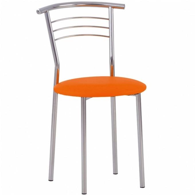 Стол Marko Chrome, еко кожа, метална основа, хромирано покритие, оранжев image