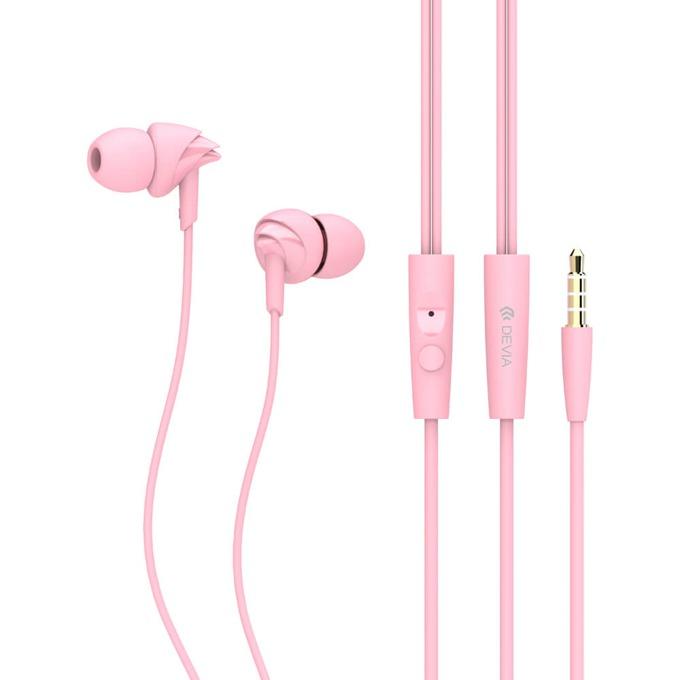 """Слушалки Devia Ripple D1, микрофон, тип """"тапи"""", розови image"""
