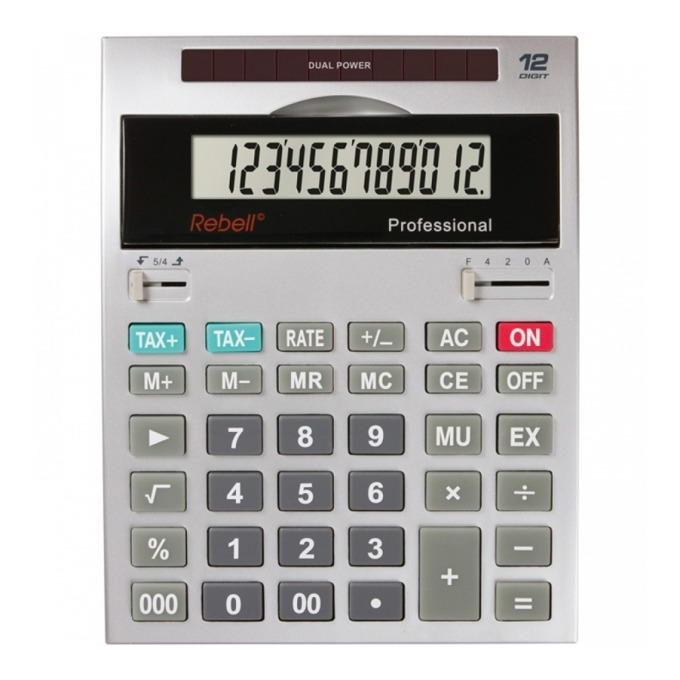 Kалкулатор Rebell professional, 12 разряден дисплей, сив image