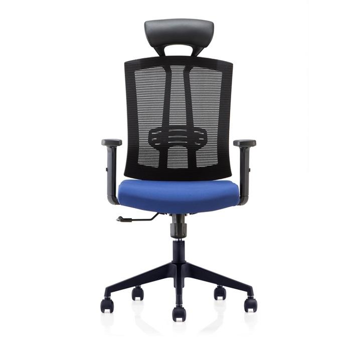 Директорски стол RFG Brixen HB, дамаска и меш, тъмносиня седалка, черна облегалка image