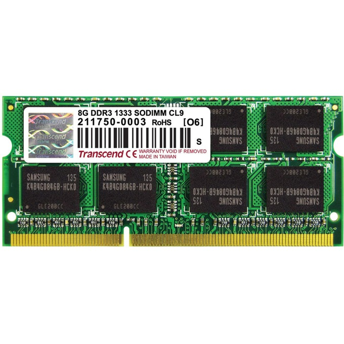Памет 8GB DDR3 1600MHz, Transcend, SO-DIMM, 1.5V image