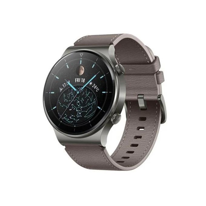 "Смарт часовник Huawei Watch GT 2 Pro (Nebula Gray), 1.39"" (3.53 мм) AMOLED дисплей, 4GB памет, до 14 дни живот на батерията, водоустойчив, Bluetooth, безжично зареждане, сив с Gray Brown Leather каишка image"